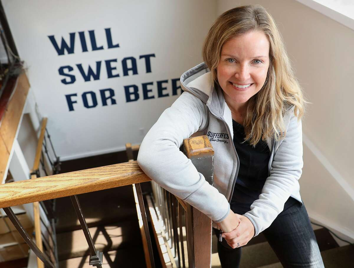 The Sufferfest beer founder and CEO Caitlin Landesberg shows her Union St. headquarters on Monday, April 8, 2019, in San Francisco, Calif.