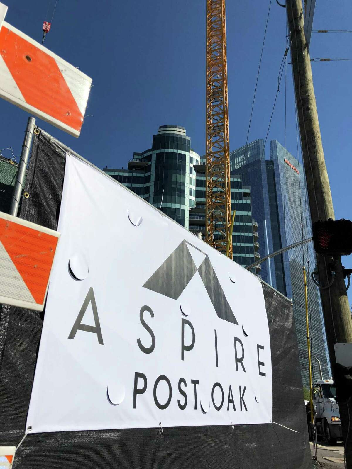The Aspire Post Oak under construction April 9, 2019. The 39-story tower will have 383 units.