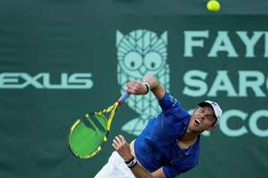 Sam Querrey serves to Bjorn Fratangelo in a first round match of the Fayez Sarofim & Co. U.S. Men's Clay Court Championship at River Oaks Country Club in Houston, Tuesday, April 9, 2019.