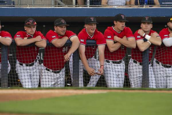 Texas Tech players watch from the dugout 04/09/19 as they take on New Mexico State at Security Bank Ballpark. Tim Fischer/Reporter-Telegram