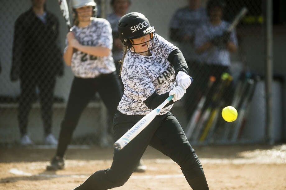 Bullock Creek's Sarah Pretzer makes contact during an April 11, 2018 game against Valley Lutheran in this Daily News file photo. The Lancers rallied from a game-one loss to Birch Run in Tuesday's season opener to beat the Panthers 12-0 in six innings in the nightcap. Photo: Daily News File Photo