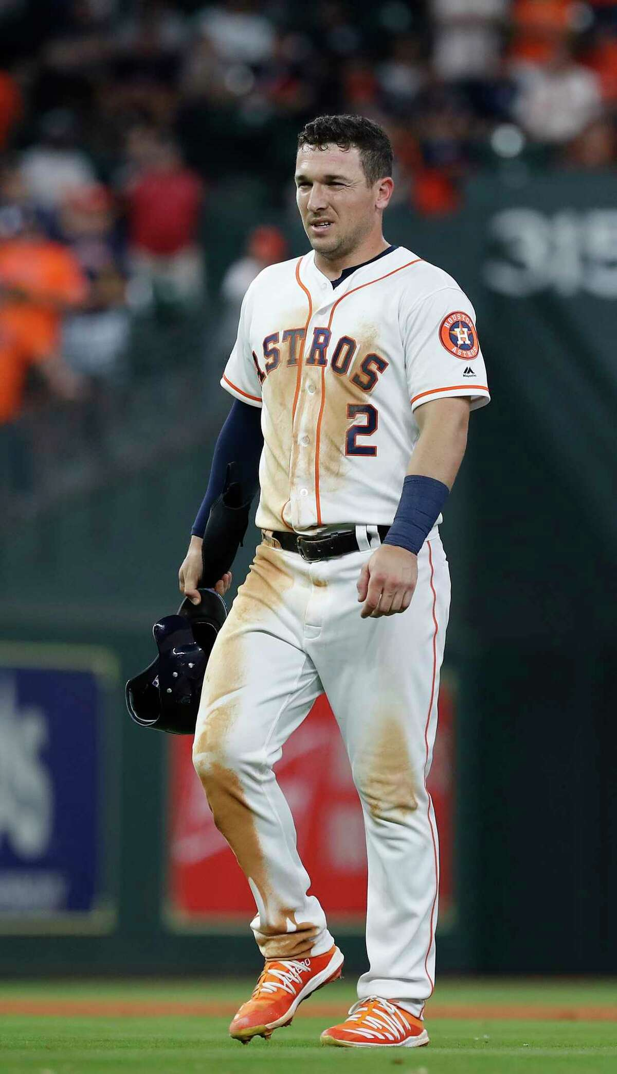 Houston Astros Alex Bregman (2) comes out of the game with a hamstring injury after taking second base on a defensive indifference during the eighth inning of an MLB game at Minute Maid Park, Tuesday, April 9, 2019, in Houston.