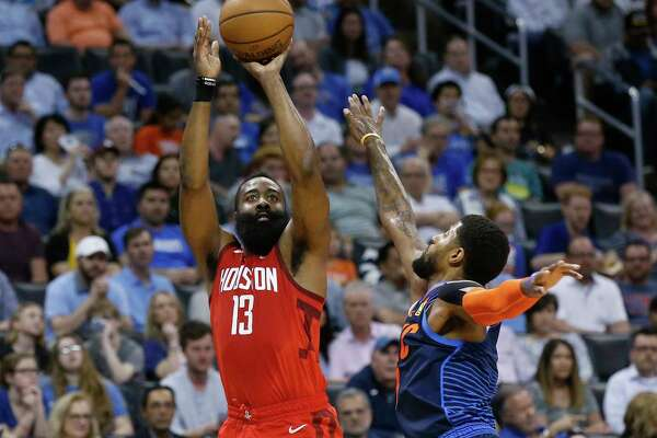 2e885eaf729c 1of13Houston Rockets guard James Harden (13) shoots as Oklahoma City Thunder  forward Paul George