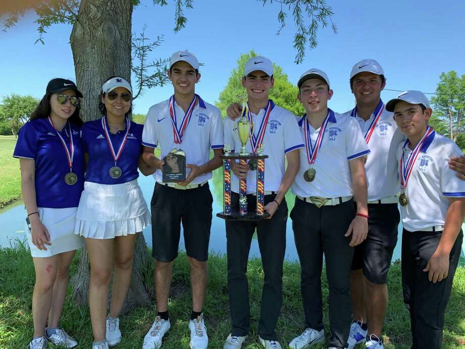 St. Augustine claimed the top three individual medals led by Horacio Perez, third from left, in first place Tuesday as the Knights rolled to the district title. Cati Garcia and Susan De La Parra also qualified for regionals on the girls' side. Photo: Courtesy Of St. Augustine Athletics