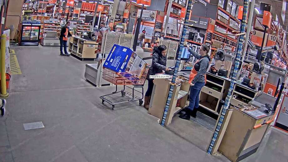 Naugatuck police are looking for a woman, who they say, used a stolen credit card to make $10,000 in fraudulent purchases. The purchases were made in the West Haven area from February to March. Late Tuesday, April 9, 2019 police released photos of the woman purchasing a large item in what appears to be a Home Depot store. Photo: Naugatuck Police Photo