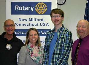 The Rotary Club of New Milford recently presented its February Student of the Month Award to New Milford High School senior Jacob Matthews.   Jacob is the recipient of the Rensselaer Award for Excellence in math and science and the Columbia Book Award for Excellence in Academics, and has served as treasurer of the Math Honor Society and as stage manager for the NMHS talent show and fall play. He has also volunteered at the John J. McCarthy Observatory. He plans to study computer  science in college. Jacob is shown above with, from left to right, Rotarian Tom McSherry, Jacob's mother, Karen Matthews, and NMHS math teacher Stephen Donahue.