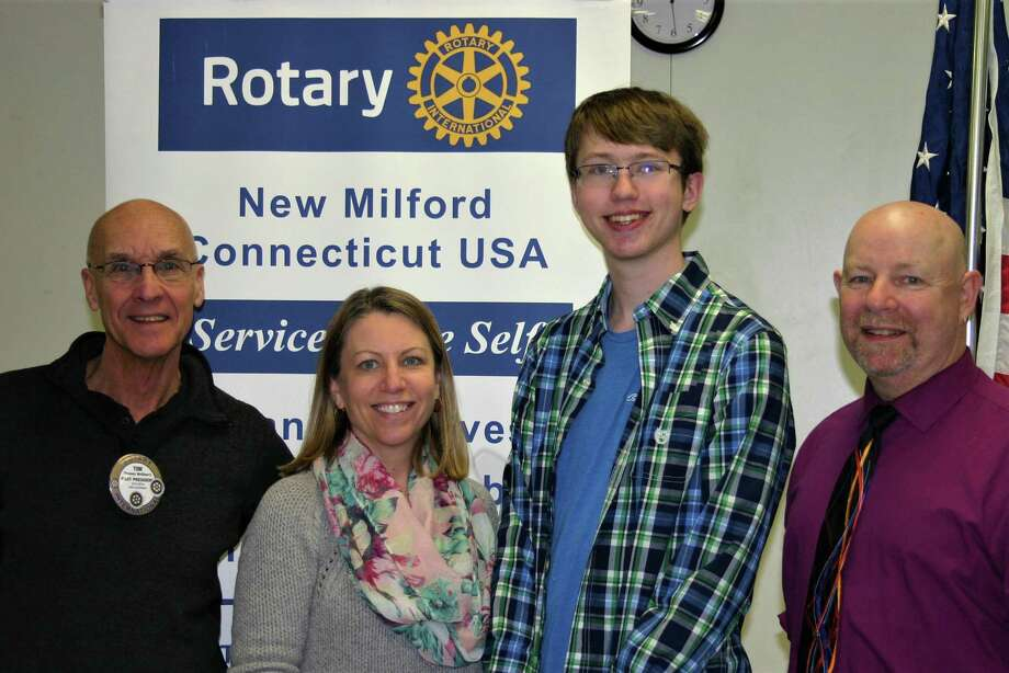 The Rotary Club of New Milford recently presented its February Student of the Month Award to New Milford High School senior Jacob Matthews.  Jacob is the recipient of the Rensselaer Award for Excellence in math and science and the Columbia Book Award for Excellence in Academics, and has served as treasurer of the Math Honor Society and as stage manager for the NMHS talent show and fall play. He has also volunteered at the John J. McCarthy Observatory. He plans to study computer science in college. Jacob is shown above with, from left to right, Rotarian Tom McSherry, Jacob's mother, Karen Matthews, and NMHS math teacher Stephen Donahue. Photo: Courtesy Of Rotary Club Of New Milford / The News-Times Contributed