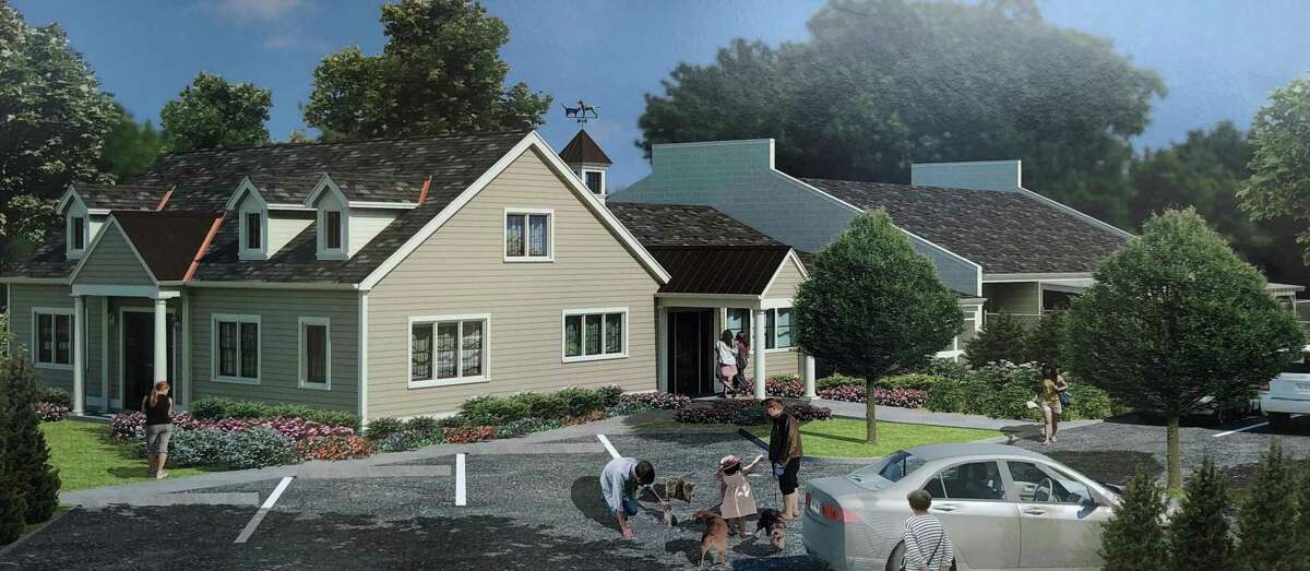 The Animal Welfare Society, Inc. in New Milford held a groundbreaking ceremony April 2 to kick off the construction of a 1,300-square-foot expansion. Above is a rendition of the expanded shelter, created by Architecture Design Alliance in New Milford.