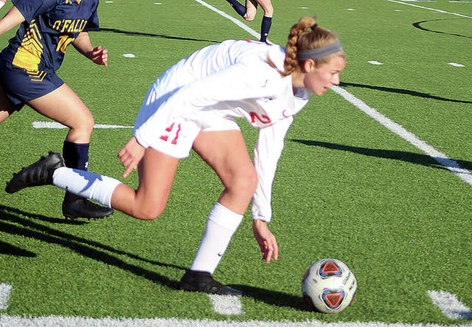 Alton freshman Tori Schrimpf scored a goal in Tuesday's 2-0 Southwestern Conference victory over Belleville East.