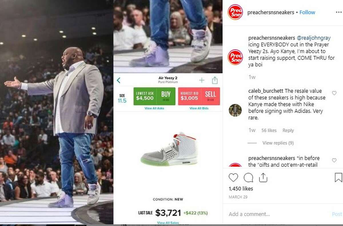 """John Gray Relentless Church in Greenville, South Carolina Caption: """"@realjohngray icing EVERYBODY out in the Prayer Yeezy 2s. Ayo Kanye, I'm about to start raising support, COME THRU for ya boi"""""""