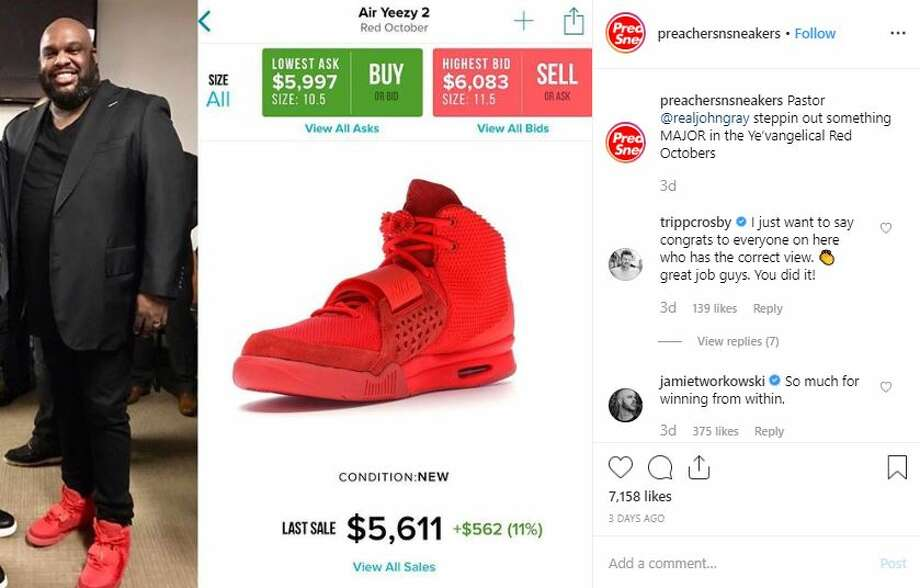 "Celebrity pastors wearing blinged-out sneakers is the focus of new Instagram account called Preachers with Sneakers.Caption: ""Pastor @realjohngray steppin out something MAJOR in the Ye'vangelical Red Octobers""