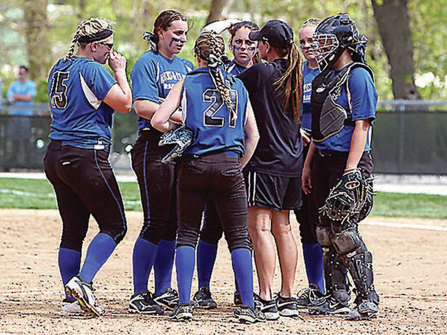 Lewis and Clark Community College split a doubleheader with Parkland College Tuesday in Godfrey, winning the first game 6-4 and dropping the nightcap 8-1. Above, LCCC coach Ronda Roberts addresses her infield during an earlier game. Photo: Pete Hayes File Photo | The Telegraph