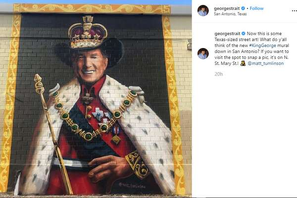 georgestrait: Now this is some Texas-sized street art! What do y'all think of the new #KingGeorge mural down in San Antonio? If you want to visit the spot to snap a pic, it's on N. St. Mary St.!@matt_tumlinson