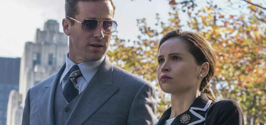 "Felicity Jones and Armie Hammer in ""On the Basis of Sex"" about the rise of Supreme Court Justice Ruth Bader Ginsberg."