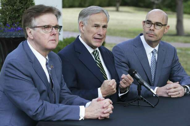 Governor Greg Abbott, Lt. Governor Dan Patrick and Speaker Dennis Bonnen speak at the Governor's Mansion on January 9, 2019.