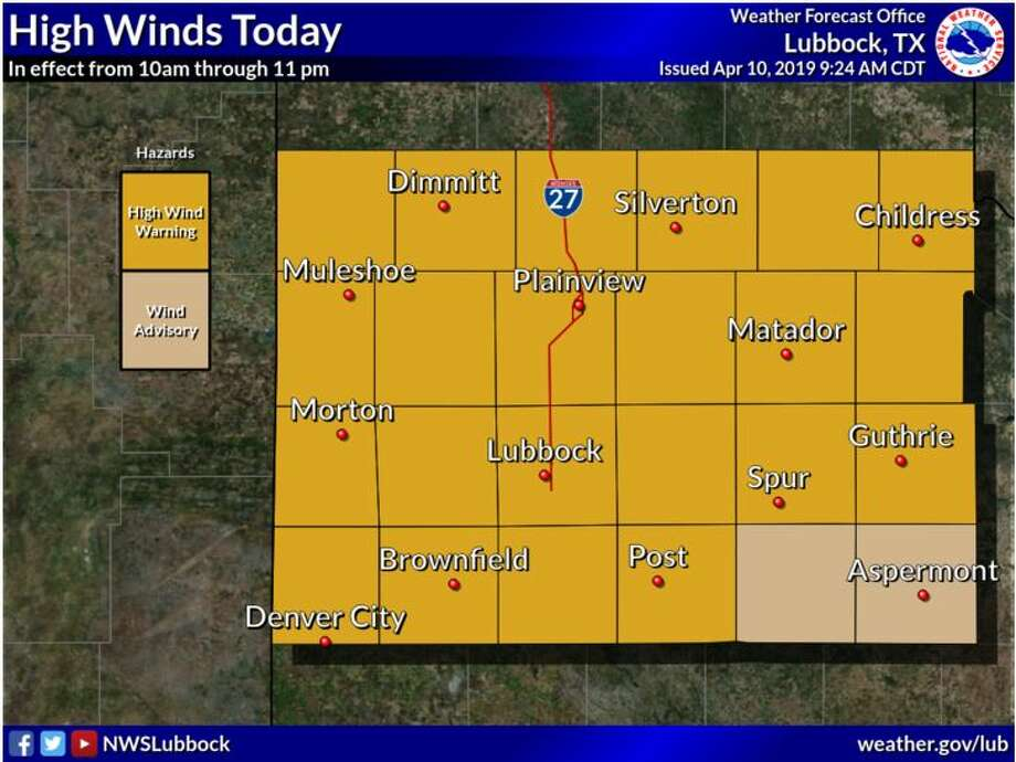 Sustained westerly winds of 40 to 55 mph, with some gusts over 70 mph, will spread across much of the area by late-morning today. The winds should peak by 4-7 pm. The strong winds will also loft lots of dust reducing visibility below 3 miles.  Photo: NWS Lubbock