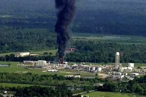 In this Sept. 1, 2017, file photo, smoke rises from the Arkema Inc. owned chemical plant in Crosby, near Houston, Texas.