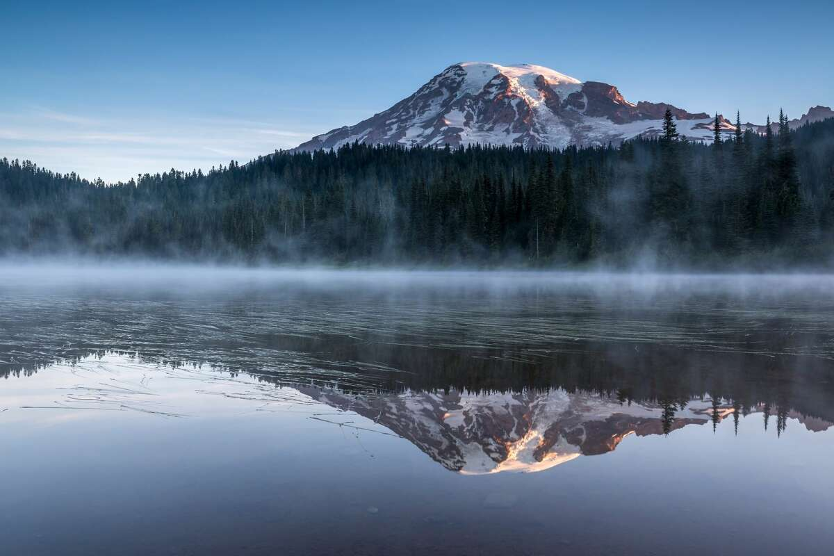 One more of Mount Rainier showing off on the aptly named, Reflection Lake.
