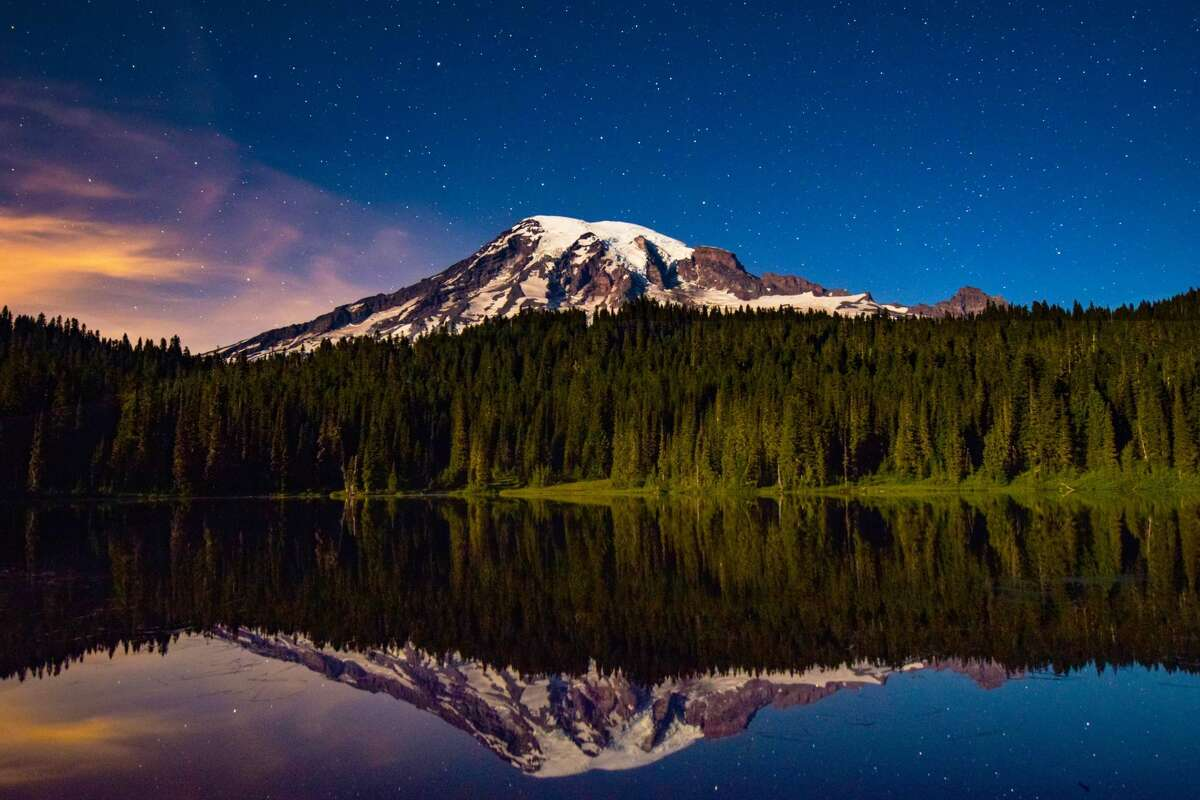 Stars, Mount Rainier and a swath of green trees. What could be a better scene to reflect off of a lake?