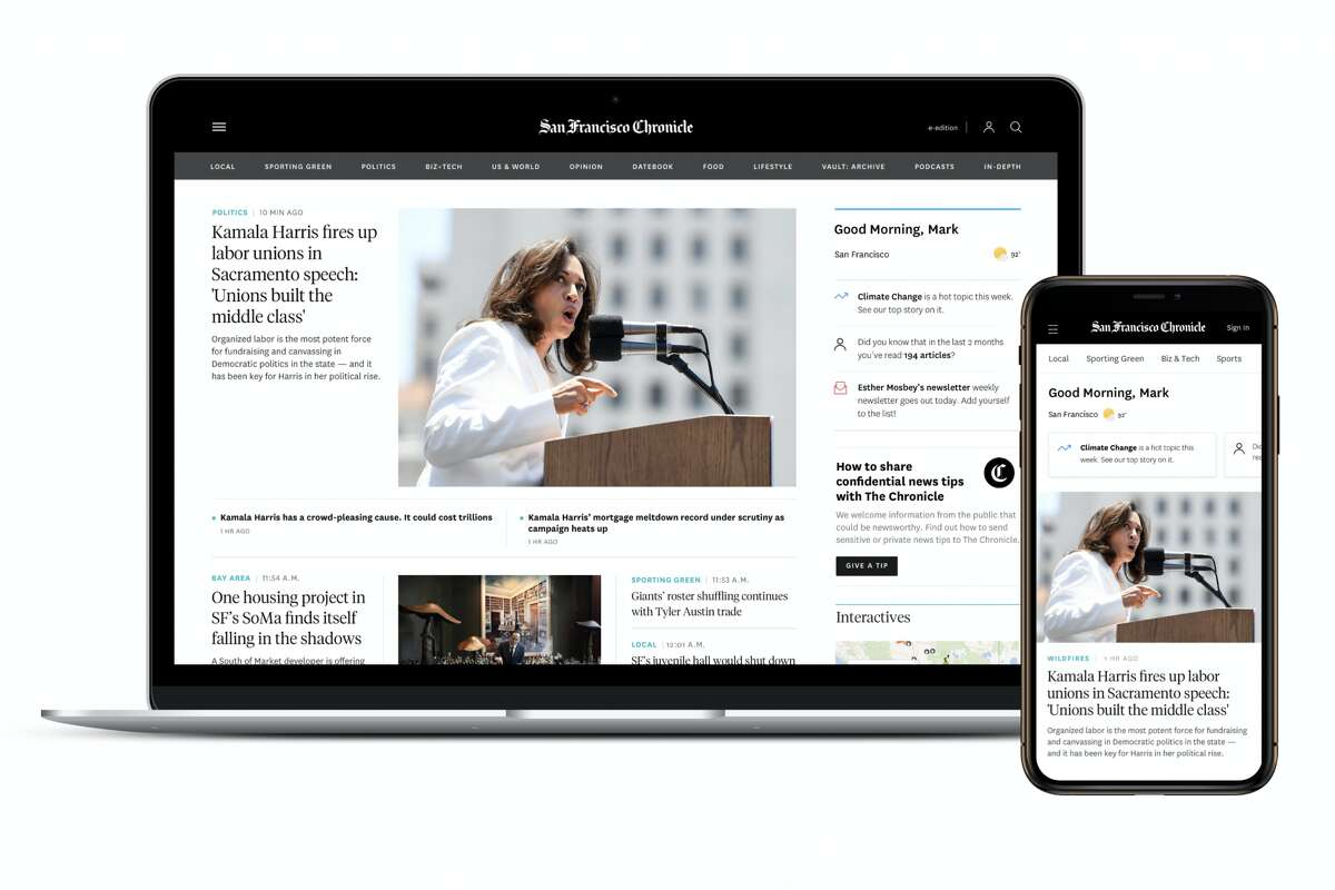 The San Francisco Chronicle's new homepage is optimized for desktop and mobile browsing.