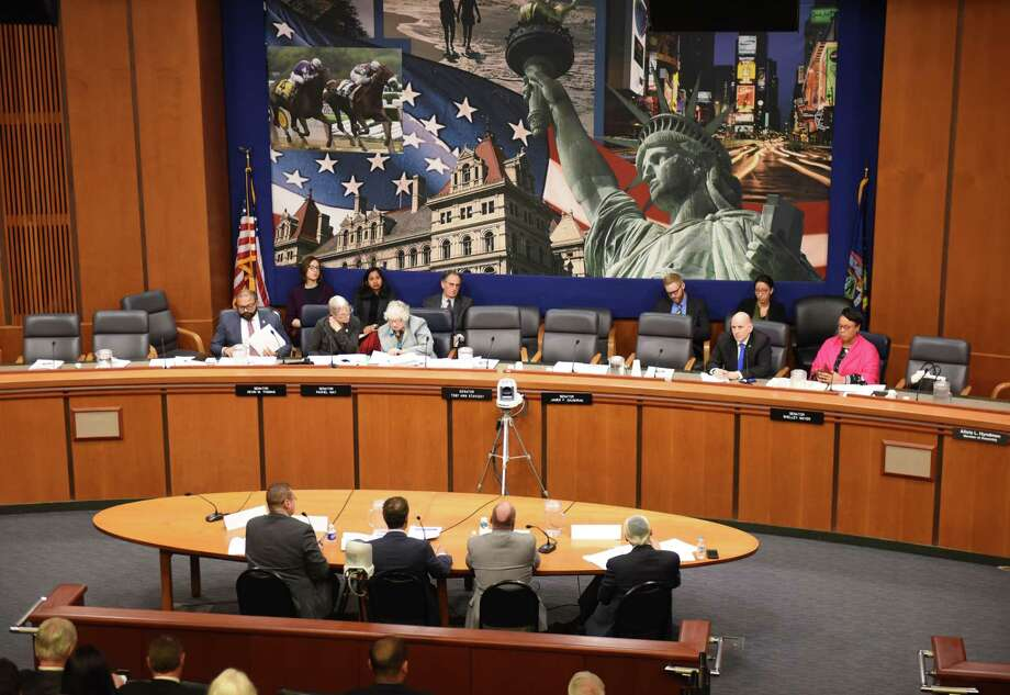 Speakers are questioned during a Senate hearing on the oversight of for-profit colleges and schools on Wednesday, April 10, 2019, at the Legislative Office Building in Albany, N.Y. (Will Waldron/Times Union) Photo: Will Waldron, Albany Times Union / 20046658A