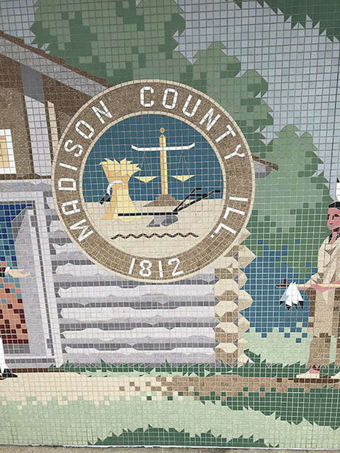 The final mural section bears the county's seal. All salvaged sections will be re-assembled and framed for re-presentation to the city. No decision has been made on where or when the city will display the mural sections. Photo: Courtesy Of The City Of Edwardsville