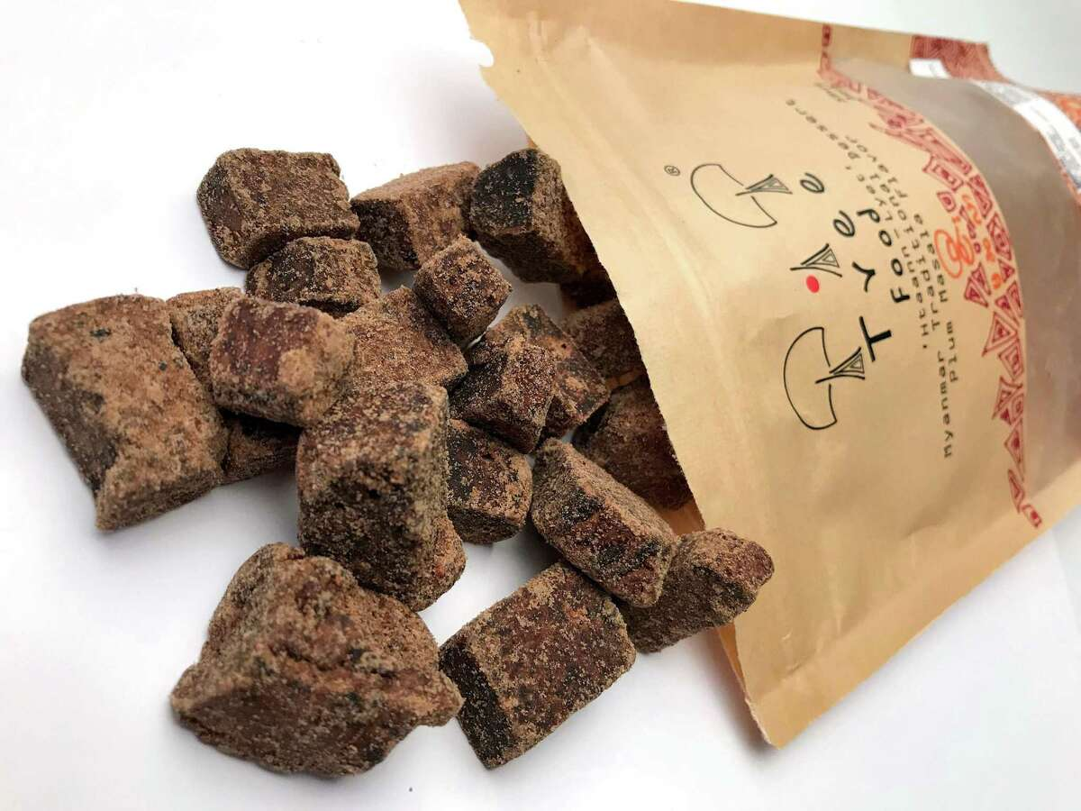 Plum, masala and chile flavored palm jaggery candy from the Myanmar-based producer Tree Food can be found at Burmese Foods at 3707 Colony Drive.