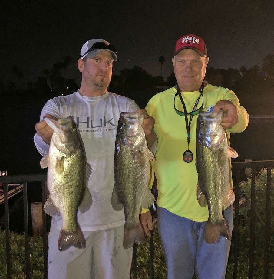 David Hall and Ross Johnston came in first place in the CONROEBASS Tuesday Tournament with a stringer weight of 13.29 pounds. Photo: Conroe Bass