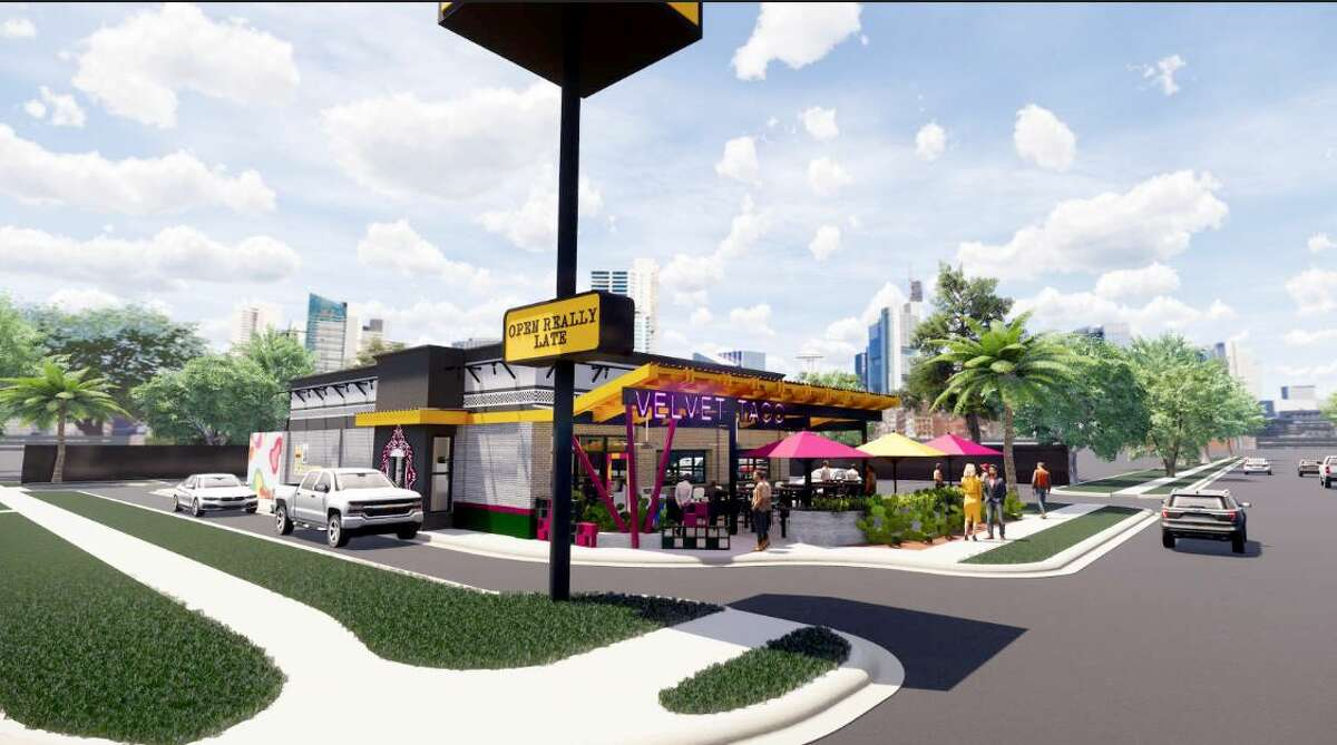 Formerly occupied by a Jack in the Box restaurant, plans for the forthcoming Heights address take advantage of the former tenant's space. This location will have a drive-thru window.