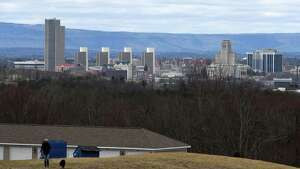 The Albany skyline is seen from Route 43 on Wednesday, April 10, 2019, in North Greenbush, N.Y. (Will Waldron/Times Union)