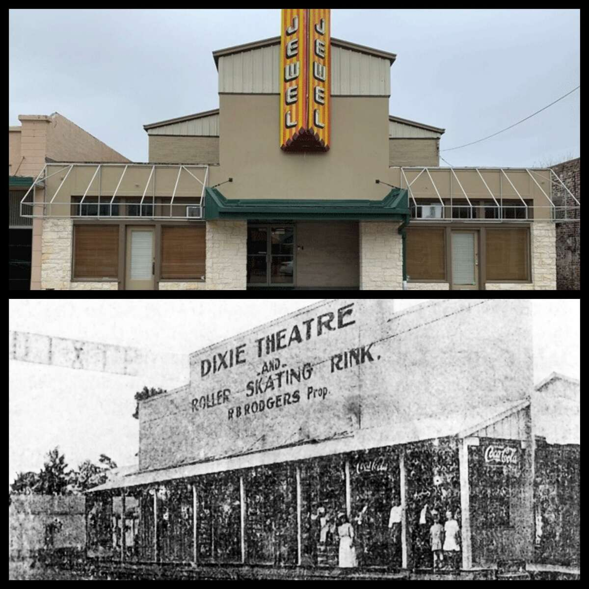 The Jewel Theatre, located on Main Street in Humble, was originally known as the Dixie Theatre and Roller Skating Rink, owned by R.B. Rogers in the early 1900's. In 1947 the Jewel Theatre sign moved from Texas City to Humble after the 1947 Texas City Disaster.