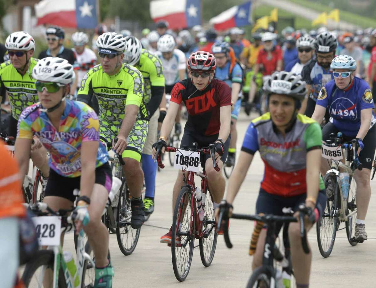 Riders embark on their two-day, 150-plus mile journey for the annual BP MS 150 Houston to Austin Bike Ride.