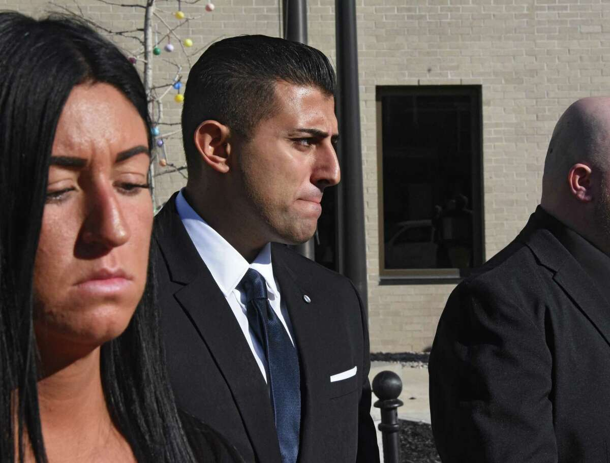Nauman Hussain, the operator of Prestige Limousine, leaves his arraignment at Schoharie County Court on Wednesday, April 10, 2019 in Schoharie, N.Y. Hussain had to post $450,000 bond and must wear a GPS. (Lori Van Buren/Times Union)