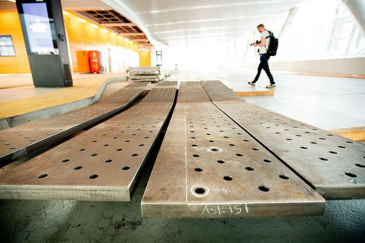 Steel plates, which will be used to reinforce damaged Transbay Transit Center supports, rest in a bus bay on Wednesday, April 10, 2019, in San Francisco.