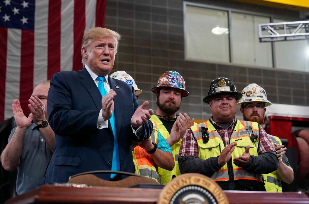 President Donald Trump arrives to speak at the International Union of Operating Engineers (IUOE) International Training Center, ‪905 Foley Rd.‬, Wednesday, April 10, 2019 in Crosby.