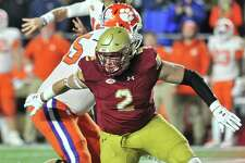Boston College Eagles defensive end Zach Allen (2) gets past the offensive line. And tries to do some damage in the backfield. During the Boston College game against Clemson at Alumni Stadium on November 10, 2018 in Chestnut Hill, MA.