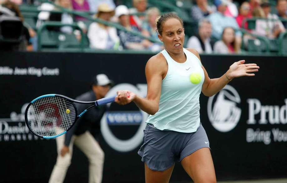 Madison Keys returns a shot to Monica Puig, from Puerto Rico, during their semifinal at the Volvo Car Open in Charleston, S.C., Saturday, April 6, 2019. (AP Photo/Mic Smith) Photo: Mic Smith, Associated Press / FR2 AP
