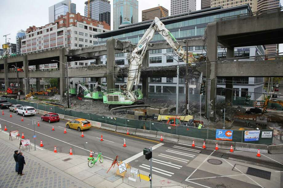 Work continues on dismantling the double decker portion of the Alaskan Way Viaduct near Columbia and Marion Streets, Wednesday, April 10, 2019.   (Genna Martin, Seattlepi.com) Photo: Genna Martin, Genna Martin/Seattlepi / GENNA MARTIN