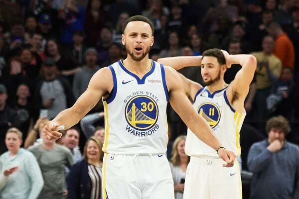 7edfd973e74ea7 1of9MINNEAPOLIS, MN - MARCH 29: Stephen Curry #30 and Klay Thompson #11 of  the Golden State Warriors react to a call during the game against the  Minnesota ...