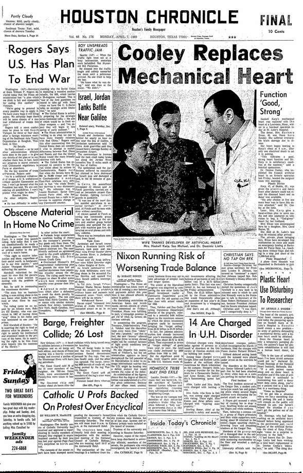 April 7, 1969 Photo: Houston Chronicle