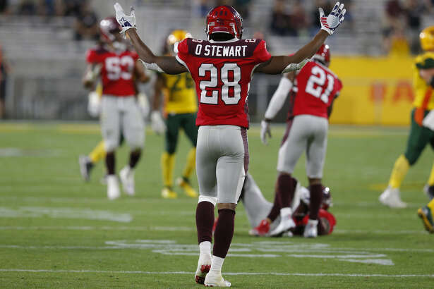 San Antonio Commanders defensive back Orion Stewart (28) during an AAF football game against the Arizona Hotshots, Sunday, March 10, 2019, at Sun Devil Stadium in Phoenix. (AP Photo/Rick Scuteri)