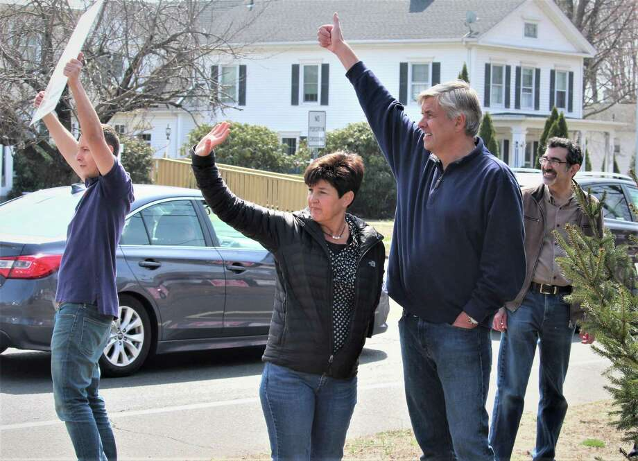 Bob Stefanowski at a March 30 anti-tolls protest in Stratford with his wife, Amy. Photo: File Photo