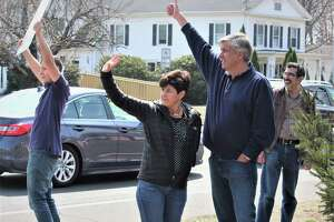 Bob Stefanowski was a previously unknown candidate who won the Republican nomination for governor in 2018 and has remained active as a conservative voice. He's shown at a March 30 anti-tolls protest in Stratford with his wife, Amy.