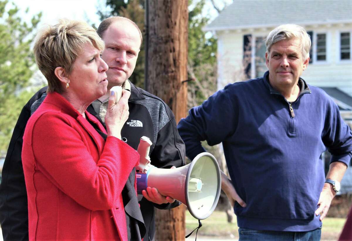 Bob Stefanowski was a previously unknown candidate who won the Republican nomination for governor in 2018 and has remained active as a conservative voice. He's shown at a March 30 anti-tolls protest in Stratford. At left is Rep. Laura Devlin, R-Fairfield, and Patrick Sasser of Stamford, founder of No Tolls CT.