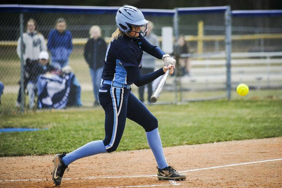 Meridian's Baleigh Hill swings on a pitch during a game against Coleman on Wednesday, April 10, 2019 at Meridian Early College High School. (Katy Kildee/kkildee@mdn.net) Photo: (Katy Kildee/kkildee@mdn.net)