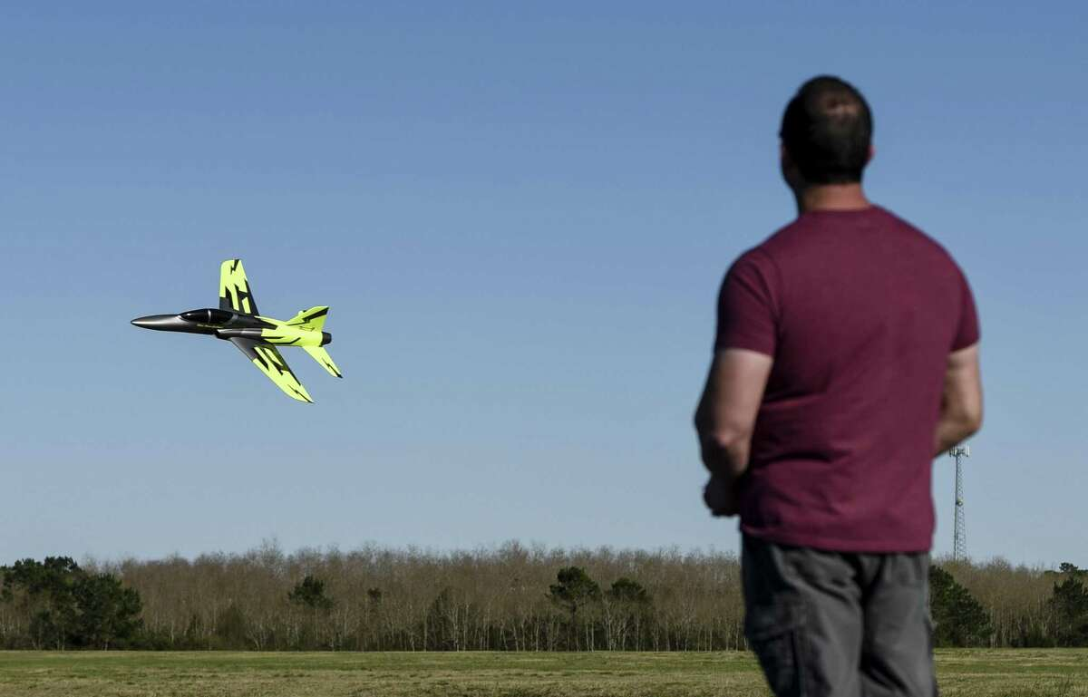 Brian Caillouet flies his radio controlled jet-powered plane at the Beaumont Radio Control Club Sunday. Photo taken on Sunday, 02/24/19. Ryan Welch/The Enterprise
