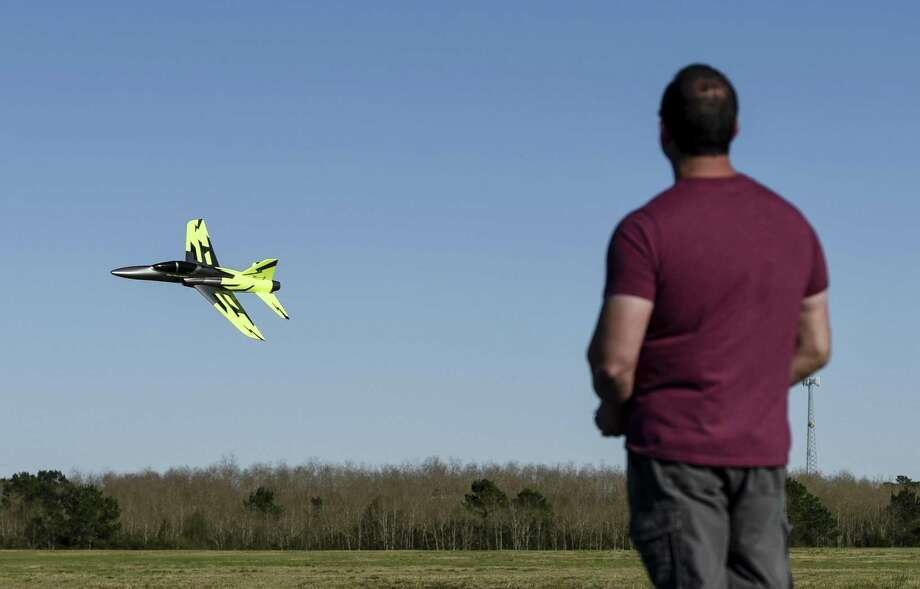 Brian Caillouet flies his radio controlled jet-powered plane at the Beaumont Radio Control Club Sunday. Photo taken on Sunday, 02/24/19. Ryan Welch/The Enterprise Photo: Ryan Welch / The Enterprise / ©Ryan Welch