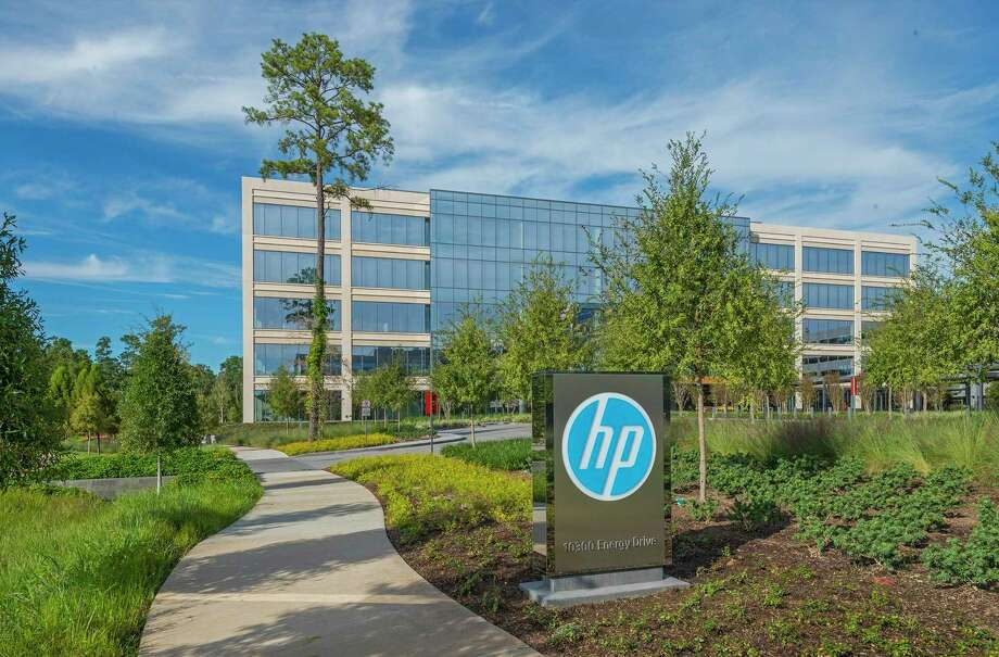 HP Plaza is at 10300 and 10400 Energy Drive in Springwoods Village. HP occupies the campus under a long-term lease. Photo: Patrinely Group / Richard Burger