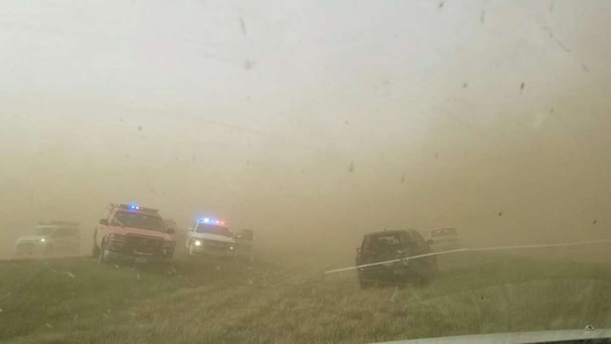 A Plainview resident shared photos of the low visibility between Plainview and Lubbock.