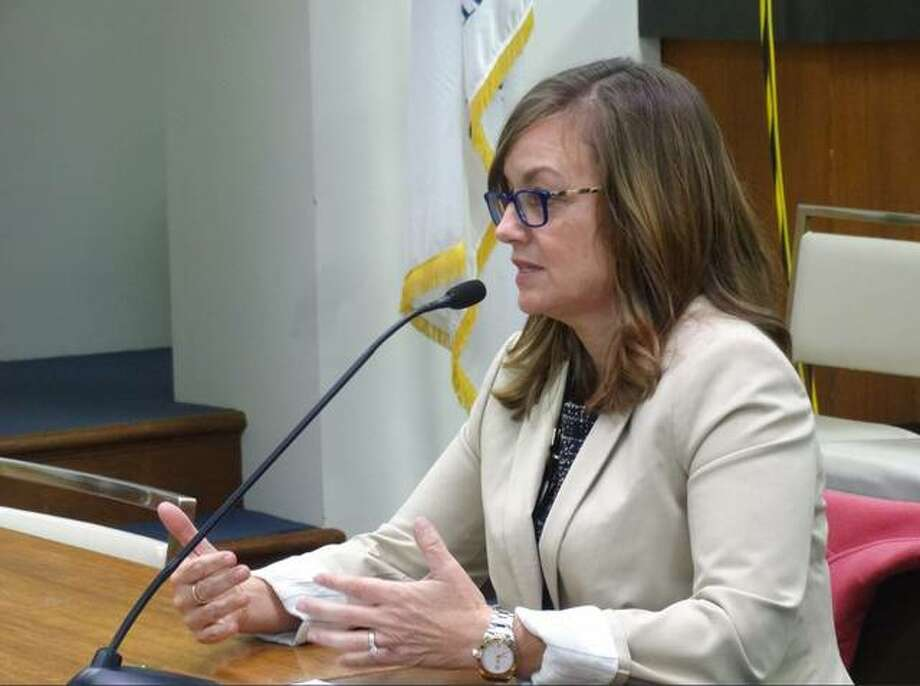 Rep. Katie Stuart (D-Edwardsville) testifies Feb. 6 before the House Human Services Committee in Springfield. Stuart's bill to raise the minimum annual salary for an Illinois public school teacher to $40,000 by 2023-24 passed the House on Tuesday.